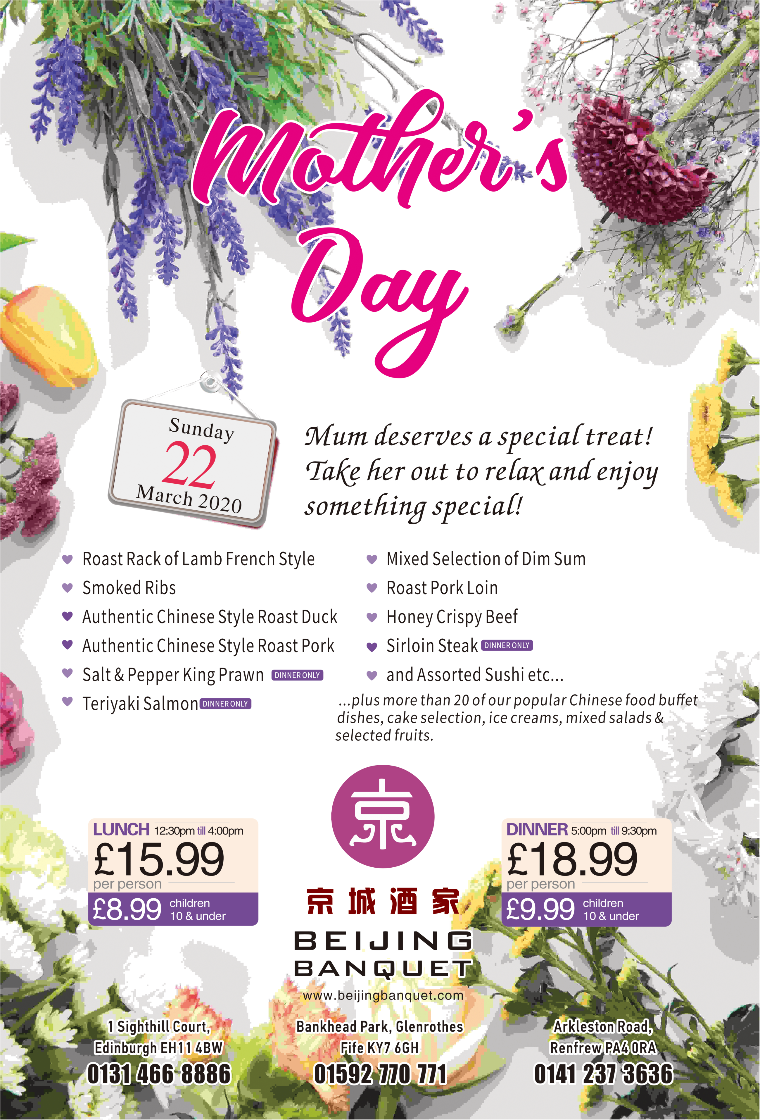 Book NOW for Mother's Day!